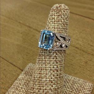 Avon Sterling Silver Ring Aquamarine Color Stone